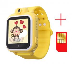 "Ceas smartwatch GPS copii MoreFIT™ GW1000 3G Pro , GPS, camera 2MP, Wi-FI si functie telefon, ecran touchscreen 1.54"", buton SOS, Galben +SIM prepay cadou [2]"