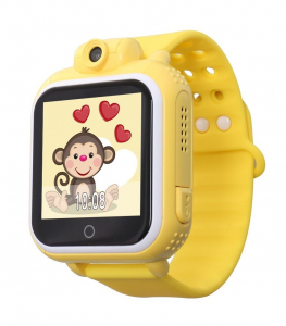 "Ceas smartwatch GPS copii MoreFIT™ GW1000 3G Pro , GPS, camera 2MP, Wi-FI si functie telefon, ecran touchscreen 1.54"", buton SOS, Galben +SIM prepay cadou [0]"
