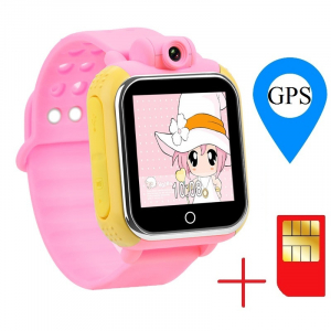 "Ceas smartwatch GPS copii MoreFIT™ GW1000 3G Pro , GPS, camera 2MP, Wi-FI si functie telefon, ecran touchscreen 1.54"", buton SOS, Roz + SIM prepay cadou1"