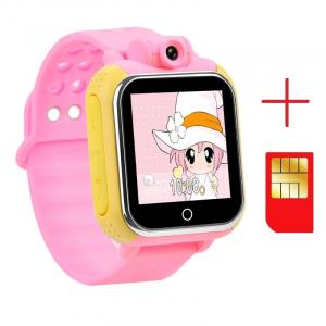 "Ceas smartwatch GPS copii MoreFIT™ GW1000 3G Pro , GPS, camera 2MP, Wi-FI si functie telefon, ecran touchscreen 1.54"", buton SOS, Roz + SIM prepay cadou2"
