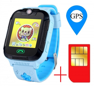 "Ceas smartwatch GPS copii MoreFIT™ GW2000 3G Pro, cu GPS si functie telefon, camera 2MP, WiFi, ecran touchscreen 1.54"", monitorizare spion si buton SOS, albastru + SIM prepay cadou0"