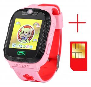 "Ceas smartwatch GPS copii MoreFIT™ GW2000 3G Pro, cu GPS si functie telefon, camera 2MP, WiFi, ecran touchscreen 1.54"", monitorizare spion si buton SOS, Roz + SIM prepay cadou [1]"
