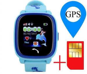 "Ceas smartwatch GPS copii MoreFIT™ GW400s Pro , cu GPS si functie telefon, Wi-Fi, rezistent la apa, ecran touchscreen 1.22"", monitorizare spion, buton SOS, albastru + SIM prepay cadou1"