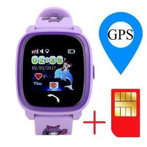 "Ceas smartwatch GPS copii MoreFIT™ GW400s Pro , cu GPS si functie telefon, Wi-Fi, rezistent la apa, ecran touchscreen 1.22"", monitorizare spion, buton SOS, lila + SIM prepay cadou1"