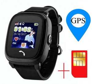 "Ceas smartwatch GPS copii MoreFIT™ GW400s Pro , cu GPS si functie telefon, Wi-Fi, rezistent la apa, ecran touchscreen 1.22"", monitorizare spion, buton SOS, negru + SIM prepay cadou [1]"
