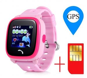 "Ceas smartwatch GPS copii MoreFIT™ GW400s Pro , cu GPS si functie telefon, Wi-Fi, rezistent la apa, ecran touchscreen 1.22"", monitorizare spion, buton SOS, roz +SIM prepay cadou [1]"