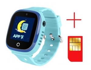Ceas smartwatch GPS copii MoreFIT™ GW400x Pro , cu GPS si functie telefon, rezistent la apa, camera foto, buton SOS, Albastru + SIM prepay cadou2
