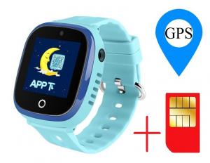 Ceas smartwatch GPS copii MoreFIT™ GW400x Pro , cu GPS si functie telefon, rezistent la apa, camera foto, buton SOS, Albastru + SIM prepay cadou1