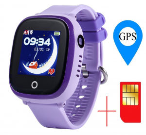 Ceas smartwatch GPS copii MoreFIT™ GW400x Pro , cu GPS si functie telefon, rezistent la apa, camera foto, buton SOS, mov +SIM prepay cadou [1]