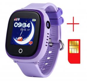 Ceas smartwatch GPS copii MoreFIT™ GW400x Pro , cu GPS si functie telefon, rezistent la apa, camera foto, buton SOS, mov +SIM prepay cadou [2]