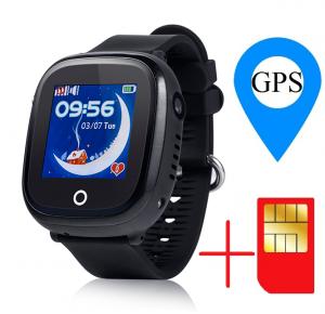 Ceas smartwatch GPS copii MoreFIT™ GW400x Pro , cu GPS si functie telefon, rezistent la apa, camera foto, buton SOS, negru + SIM prepay cadou1