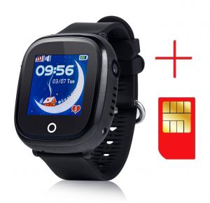 Ceas smartwatch GPS copii MoreFIT™ GW400x Pro , cu GPS si functie telefon, rezistent la apa, camera foto, buton SOS, negru + SIM prepay cadou2