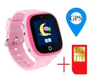Ceas smartwatch GPS copii MoreFIT™ GW400x Pro , cu GPS si functie telefon, rezistent la apa, camera foto, buton SOS, roz + SIM prepay cadou [1]