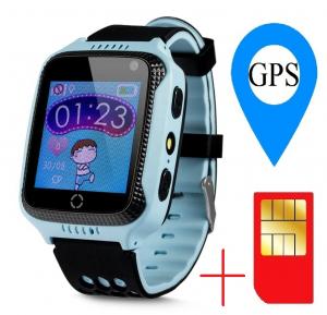 Ceas smartwatch GPS copii MoreFIT™ GW500x Pro , cu GPS si functie telefon, camera foto + lanterna, monitorizare spion, buton SOS, albastru + SIM prepay cadou1