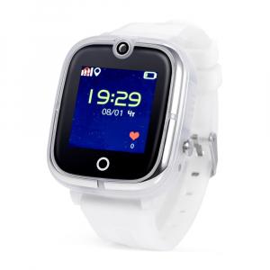"Ceas smartwatch GPS copii MoreFIT™ KT07 , cu GPS si functie telefon, Wi-Fi, monitorizare spion,display touchscreen color 1.3"", rezistent la apa IP67, buton SOS, vibratii, alb/gri0"