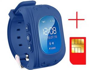 Ceas smartwatch GPS copii MoreFIT™ Q50, functie telefon, monitorizare GPS in timp real , Wi-FI, buton SOS si monitorizare spion, Bleumarin +SIM prepay cadou2