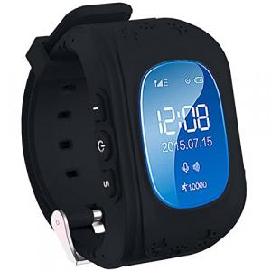 Ceas smartwatch GPS copii MoreFIT™ Q50, functie telefon, monitorizare GPS in timp real , Wi-FI, buton SOS si monitorizare spion, negru + SIM prepay cadou0