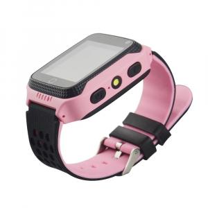 Ceas smartwatch GPS copii MoreFIT™ Q528, cu GPS prin lbs si functie telefon, localizare camera foto, monitorizare spion, display touchsreen color, lanterna,buton SOS, Roz3