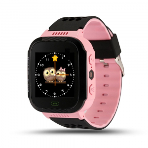 Ceas smartwatch GPS copii MoreFIT™ Q529, cu GPS prin lbs si functie telefon, localizare camera foto, monitorizare spion, display touchsreen color, lanterna, buton SOS, Roz + SIM prepay cadou0