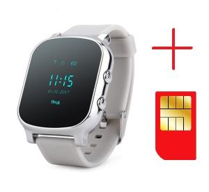 Ceas smartwatch GPS copii sau adultii MoreFIT™ GW700, cu GPS si functie telefon,Wi-Fi, monitorizare spion, buton SOS, Argintiu + SIM prepay cadou2
