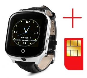 Ceas smartwatch GPS copii si adulti MoreFIT™ GW1000s 3G, cu GPS si functie telefon, camera 1.3MP, Wi-Fi, bluetooth, buton SOS, ecran touchscreen 1.54 inch, monitorizare spion, argintiu si curea din pi1