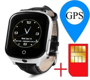 Ceas smartwatch GPS copii si adulti MoreFIT™ GW1000s 3G, cu GPS si functie telefon, camera 1.3MP, Wi-Fi, bluetooth, buton SOS, ecran touchscreen 1.54 inch, monitorizare spion, argintiu si curea din pi0