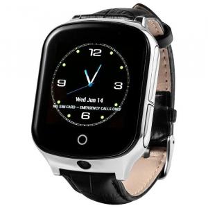 Ceas smartwatch GPS copii si adulti MoreFIT™ GW1000s 3G, cu GPS si functie telefon, camera 1.3MP, Wi-Fi, bluetooth, buton SOS, ecran touchscreen 1.54 inch, monitorizare spion, argintiu si curea din pi2