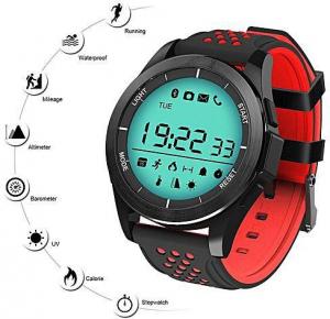 Ceas Smartwatch MoreFIT™ F3S Plus Sport, autonomie 12 luni, rezistent la apa ip67, Android/iOS, notificari apeluri, sms, barometru, altitudine, negru/rosu5