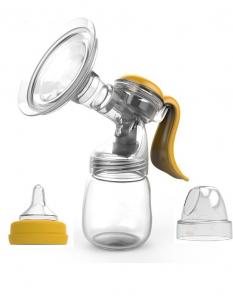 Pompa de san manuala Doopser Premium , alaptare naturala , cupa silicon , biberon cu senzor de temperatura si tetina , 2 niveluri ajustabile , stimulare (masaj) si extragere , alb/gold0