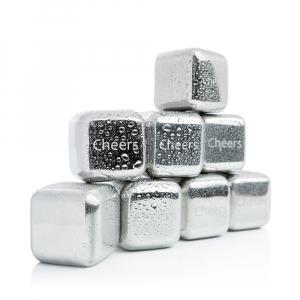 Set 8 cuburi gheata reutilizabile Fridall™, pentru racirea bauturilor fara a pierde gustul, otel inoxidabil, cleste, cutie depozitare, argintiu2
