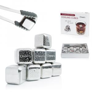 Set 8 cuburi gheata reutilizabile Fridall™, pentru racirea bauturilor fara a pierde gustul, otel inoxidabil, cleste, cutie depozitare, argintiu0