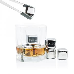 Set 8 cuburi gheata reutilizabile Fridall™, pentru racirea bauturilor fara a pierde gustul, otel inoxidabil, cleste, cutie depozitare, argintiu1