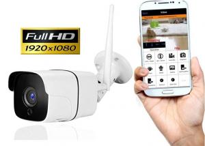 "Set Camera de supraveghere exterior IP WIFI BabyToy™ AG09, FullHD 2MP 1080p, Conectare Telefon / PC , Night Vision, rezistenta la apa, senzor miscare, alb + sticker ""obiectiv supravegheat video"" [0]"