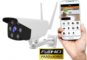 "Set Camera de supraveghere IP WIFI BabyToy™ AG02 , Exterior , Conectare Telefon / PC , night vision color, rezistenta la apa, FullHD 1920*1080, camera 2.0 MP, senzor miscare, alb + sticker ""obiectiv s [0]"