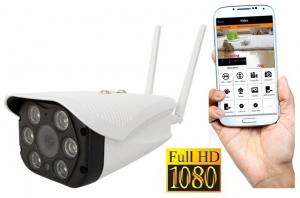 "Set Camera de supraveghere IP WIFI BabyToy™ AG06 , Exterior , Conectare Telefon / PC , night vision color, rezistenta la apa, FullHD 1920*1080, camera 2.0 MP, senzor miscare, alb + sticker ""obiectiv s0"