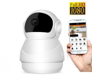 """Set Camera de supraveghere IP WIFI BabyToy™ AG24 , Full HD 2MP, Night vision, Conectare telefon / PC , Rotire automata, rezolutie 1920*1080 , senzor miscare, alb + sticker """"obiectiv supravegheat video0"""