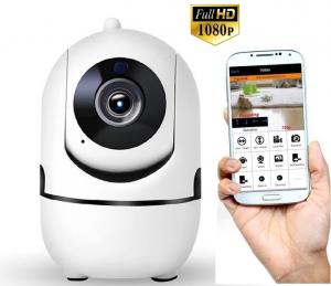 "Set Camera de supraveghere IP WIFI BabyToy™ AG26 , Full HD 2MP, Night vision, Conectare telefon / PC , Rotire automata, rezolutie 1920*1080 , senzor miscare, alb + bratara BabyToy + sticker ""obiectiv 0"