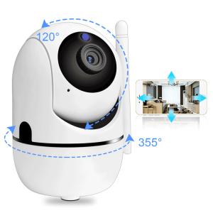 "Set Camera de supraveghere IP WIFI BabyToy™ AG26 , Full HD 2MP, Night vision, Conectare telefon / PC , Rotire automata, rezolutie 1920*1080 , senzor miscare, alb + bratara BabyToy + sticker ""obiectiv 3"