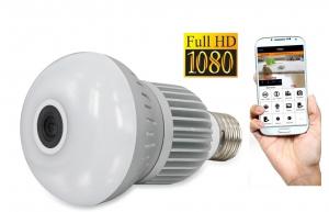 Set Camera de supraveghere IP WIFI BabyToy™ AR-P6 bec , Full HD 3MP, Night vision, Conectare telefon / PC , Vedere panoramica 360° 3D, Senzor miscare, Alarma, Comunicare audio bidirectionala, stocare 0