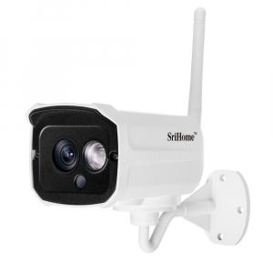 """Set Camera de supraveghere IP WIFI Sricam™ SH024 Plus SriHome Exterior , FullHD 2MP 1080p, Conectare Telefon / PC , night vision , rezistenta la apa, senzor miscare, alb + sticker """"obiectiv supraveghe1"""