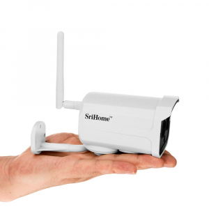 """Set Camera de supraveghere IP WIFI Sricam™ SH024 Plus SriHome Exterior , FullHD 2MP 1080p, Conectare Telefon / PC , night vision , rezistenta la apa, senzor miscare, alb + sticker """"obiectiv supraveghe3"""