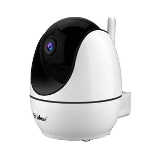 """Set Camera de supraveghere IP WIFI Sricam™ SH026 Plus SriHome, FullHD 2MP 1080p , Conectare Telefon / PC , Night vision, Rotire automata rapida, senzor miscare, alb + sticker """"obiectiv supravegheat vi2"""