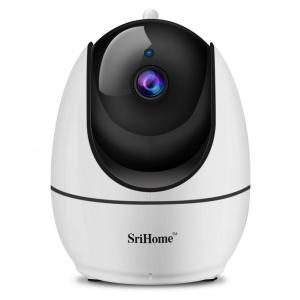 """Set Camera de supraveghere IP WIFI Sricam™ SH026 Plus SriHome, FullHD 2MP 1080p , Conectare Telefon / PC , Night vision, Rotire automata rapida, senzor miscare, alb + sticker """"obiectiv supravegheat vi1"""