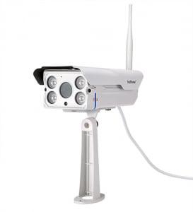 """Set Camera de supraveghere IP WIFI Sricam™ SH027 Plus SriHome Exterior , FullHD 2MP 1080p, Zoom, Conectare Telefon / PC , night vision , rezistenta la apa, senzor miscare, alb + sticker """"obiectiv supr3"""
