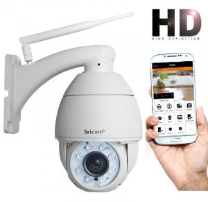 "Set Camera de supraveghere IP WIFI Sricam™ SP008B Plus , Exterior , Conectare Telefon / PC , night vision , rezistenta la apa, FullHD 1920*1080, camera 2.0 MP, senzor miscare , alb + sticker ""obiectiv0"