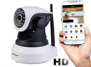 """Set Camera de supraveghere IP WIFI Sricam™ SP017 Plus , Conectare Telefon / PC , Night vision, Rotire automata rapida, FullHD 1920*1080, camera 2.0 MP, senzor miscare, alb + sticker """"obiectiv supraveg [0]"""