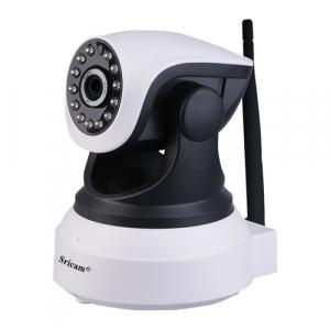 """Set Camera de supraveghere IP WIFI Sricam™ SP017 Plus , Conectare Telefon / PC , Night vision, Rotire automata rapida, FullHD 1920*1080, camera 2.0 MP, senzor miscare, alb + sticker """"obiectiv supraveg [3]"""