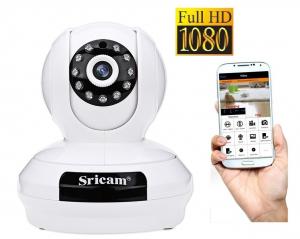"""Set Camera de supraveghere IP WIFI Sricam™ SP019 Plus, FullHD 2MP, Conectare Telefon / PC , night vision , rezistenta la apa, rezolutie 1920*1080, senzor miscare , alb + sticker """"obiectiv supravegheat [0]"""