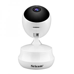 """Set Camera de supraveghere IP WIFI Sricam™ SP025 Plus, Conectare Telefon / PC , Night vision, Rotire automata, HD 1280*720, camera 1.0 MP, senzor miscare, alb + sticker """"obiectiv supravegheat video"""" [3]"""