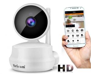 """Set Camera de supraveghere IP WIFI Sricam™ SP025 Plus, Conectare Telefon / PC , Night vision, Rotire automata, HD 1280*720, camera 1.0 MP, senzor miscare, alb + sticker """"obiectiv supravegheat video"""" [0]"""
